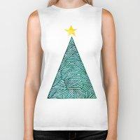 christmas tree Biker Tanks featuring Christmas tree by Bridget Davidson
