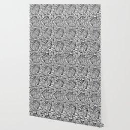 Tree motif in black in white Wallpaper