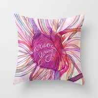 forever young Throw Pillows featuring FOREVER YOUNG by flaviasorr