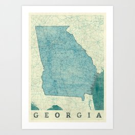 Georgia Map Blue Vintage Art Print