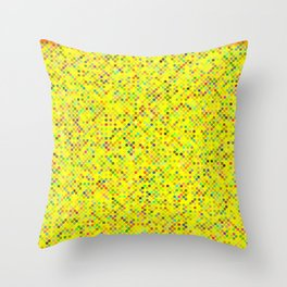 Cyberflower pixels on yellow background Throw Pillow