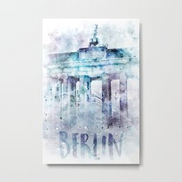Modern Art BERLIN Brandenburg Gate | jazzy watercolor Metal Print