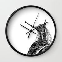 snail Wall Clocks featuring Snail by Laura Chico