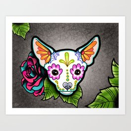 Chihuahua in White - Day of the Dead Sugar Skull Dog Art Print