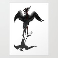 crane Art Prints featuring Crane by STiCK MONSTER iNK