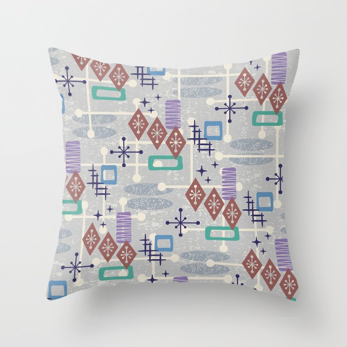 Retro Mid Century Modern Atomic Abstract Pattern 242 Throw Pillow