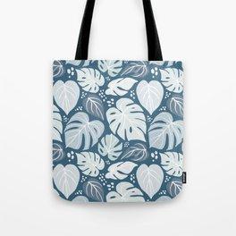 Tropical Monsteras - Blue on Blue Palette Tote Bag