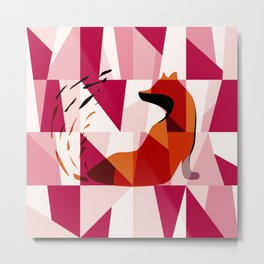 Fox Geometric Pattern Metal Print