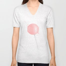 Splashed Pink Lollipop Unisex V-Neck