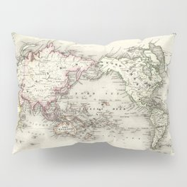 Vintage Map of The World (1844) Pillow Sham