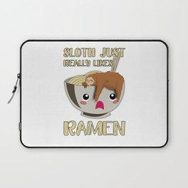 Sloth Ramen Bowl Kawaii Miso Soup Laptop Sleeve