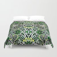 green pattern Duvet Covers featuring Green Pattern by Marcela Caraballo