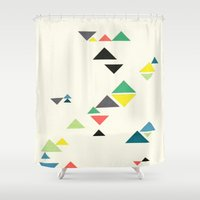 triangles Shower Curtains featuring Triangles by Cassia Beck