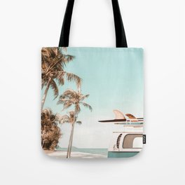Retro Camper Van with Surfboard at the Beach Tote Bag