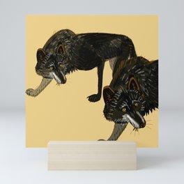 Totem black Buffalo wolf (nubilus) Yellow Mini Art Print