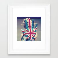 british flag Framed Art Prints featuring british flag love by Starr Shaver
