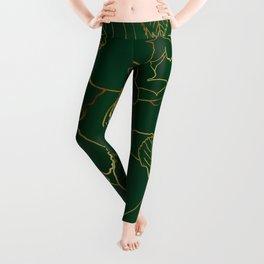 Elegant Gold Roses Floral Drawing Green Design Leggings
