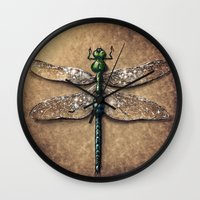 dragonfly Wall Clocks featuring Dragonfly  by Werk of Art