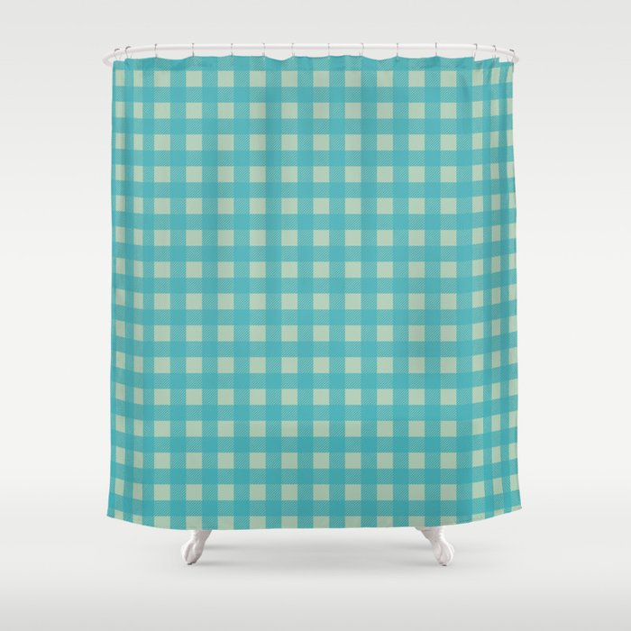 Buffalo Check Plaid In Turquoise And Sage Green Shower Curtain