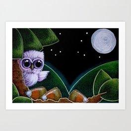 TINY OWL FOUND HALLOWEEN CANDY CORNS Art Print