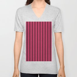 Cerise Pink Stripes Pattern Unisex V-Neck