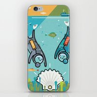 scuba iPhone & iPod Skins featuring Scuba Divers by Jack Hornady Illustrations