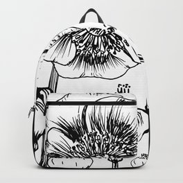 Floral print minimalist wall art print monochrome print black and white print flower Backpack