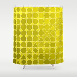 Polygons Yellow Shower Curtain