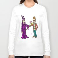 brad pitt Long Sleeve T-shirts featuring Brangelina Valentine!  Brad Pitt and Angelina Jolie as Tyler Durden (Fight Club) and Maleficent!  by beetoons