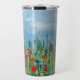 Summer Wildflowers, Landscape Art with Flowers Travel Mug