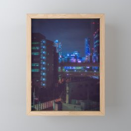 View from Tokyo roof/ blue and purple lights at night / Cyberpunk/Blade runner vibes. Framed Mini Art Print