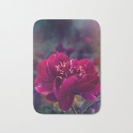 Purple & Cranberry Colored Peony with gold line drawing overlay Bath Mat