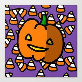 Halloween Pumpkin Candy Corn | Veronica Nagorny Canvas Print