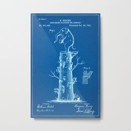 "1891 Patent for an ""Animal Preforming Platform"" - Blueprint Style Metal Print"