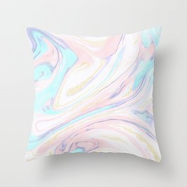 Modern golden marbleized abstract design Throw Pillow