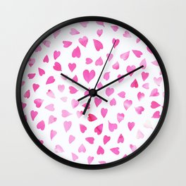 Blush pink hand painted watercolor valentine hearts Wall Clock