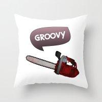 evil dead Throw Pillows featuring Evil dead Groovy by Komrod