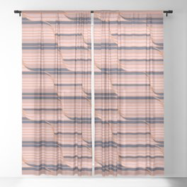Geo Stripes - Navy & Neutral Sheer Curtain