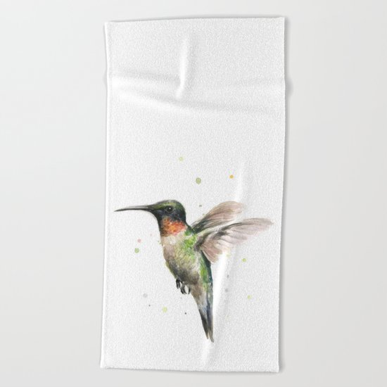 Hummingbird Watercolor Bird Animal Ruby Throated Beach Towel