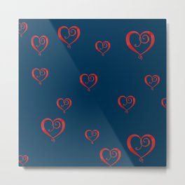 Polka Heart Party, Blue Metal Print