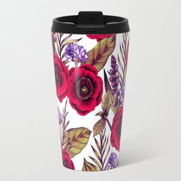 Red Poppies & Purple Flowers - Floral/Botanical Print Travel Mug