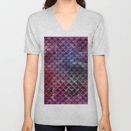 Bold Red Iridescent Glitter Mermaid scales Unisex V-Neck