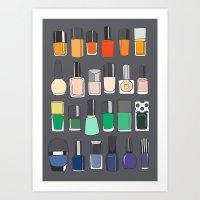 nail polish Art Prints featuring Nail polish collection 2 by uzualsunday