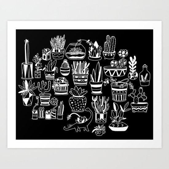 Succulent Party (Night Version) Art Print
