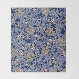 Blue Lillies Design Throw Blanket