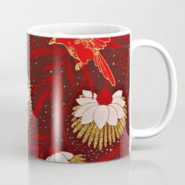 Burgundy Red Gold Bird Flowers Glitter Coffee Mug