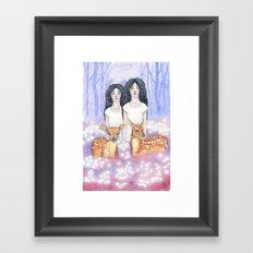 Twin Fawns Framed Art Print