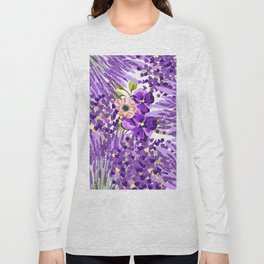 Lilac violet lavender lime green floral illustration Long Sleeve T-shirt