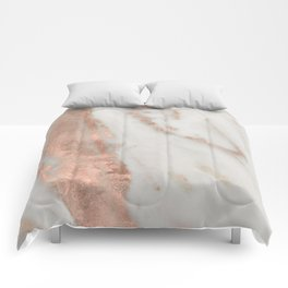 Marble Rose Gold Shimmery Marble Comforters