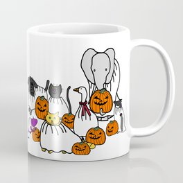 Cute Animals in Halloween Costumes with Pumpkins Coffee Mug
